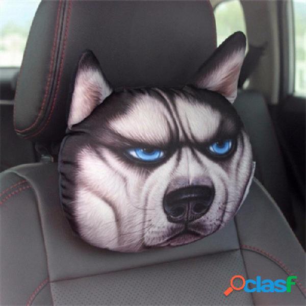 3d car styling coche reposacabezas almohada cabeza reposacabezas reposacabezas asiento de respaldo encantador perro gato animal huskies regalo presente forma de perro
