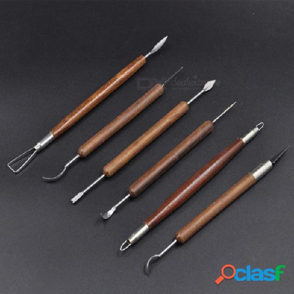6 unids / set herramientas de talla de arcilla herramientas de cerámica de cerámica herramientas de modelado de arcilla polimérica cera talla herramienta esculpir 6 unids / set