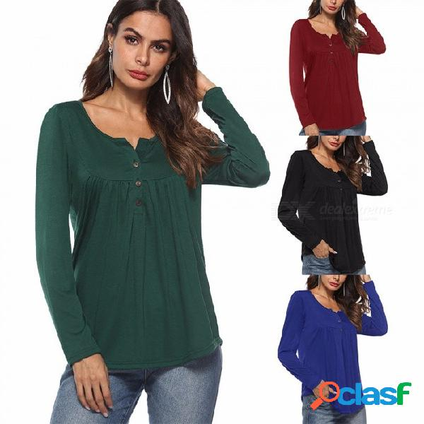 Am212 blusa de punto slim fit para mujer con volantes, top de manga larga y cuello redondo para mujer negro / s