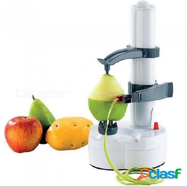 Eléctrico auto giratorio pelador de papa pera fruta vegetal cortador rebanador utensilio de cocina de acero inoxidable + material abs a