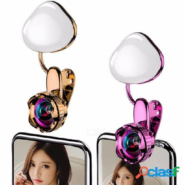 Lente de luz selfie luces de relleno led luces de belleza luminoso selfie lente gran angular linda teléfonos móviles universales lente rosa