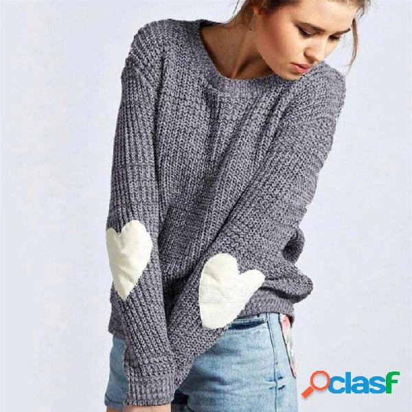 Otoño invierno corazón parches manga larga para mujer suéteres sueltos de moda jersey de punto suéter de cuello redondo gris / s