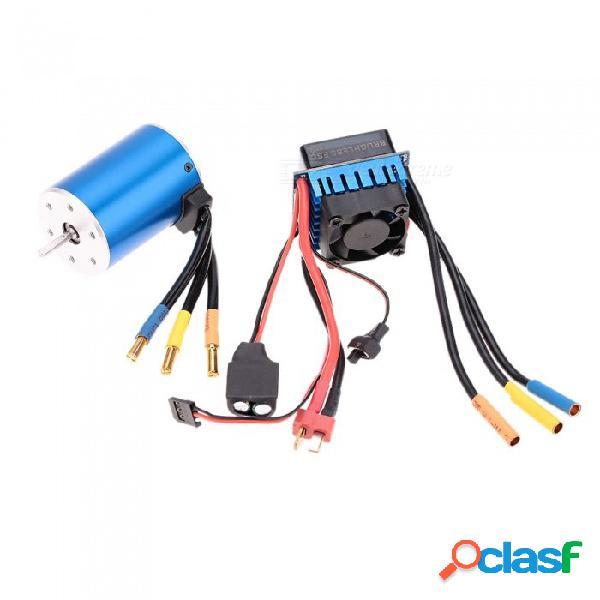 3650 3100kv / 4p motor sin escobillas sin sensor con 60a controlador de velocidad eléctrico sin escobillas esc para 1/10 rc camión de coche - azul