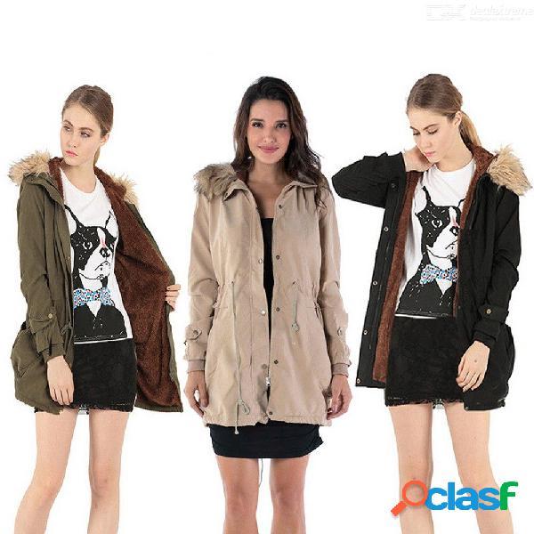 Abrigo de piel de invierno de las mujeres con capucha casual de algodón grueso chaquetas calientes outwear parkas