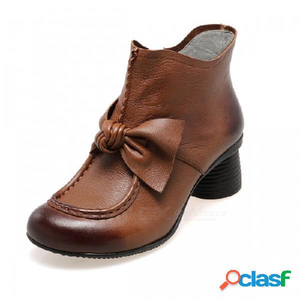 Otoño invierno retro hecho a mano de cuero zapatos de mujer botas cortas punta redonda bowknot decorado cremallera lateral botines marrón / 34