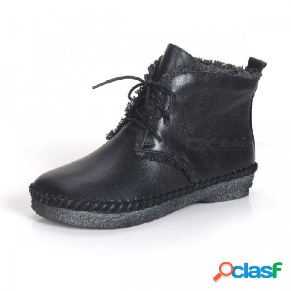 Primavera otoño zapatos de mujer con cordones de punta redonda botas planas de cuero genuino suave bota simple para las mujeres negro / 34