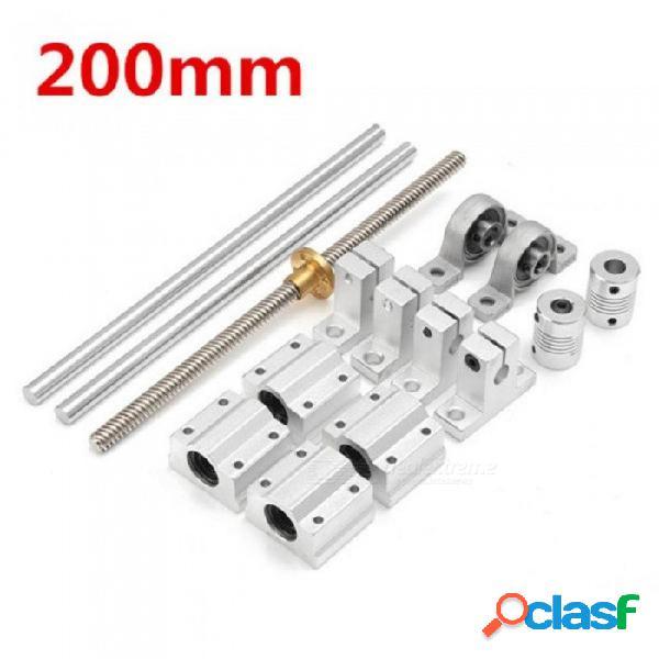 15 unids 200 mm eje óptico guías de rodamientos carcasas riel de aluminio varilla roscada barra de deslizamiento buje eje acoplamiento cnc piezas 15 unids