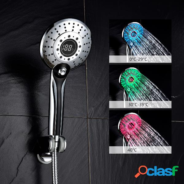 Cabezal de ducha de mano de plástico abs abs bs150c, 3 colores 2 luces de ducha de temperatura de luz led de brillo de agua de 2 colores