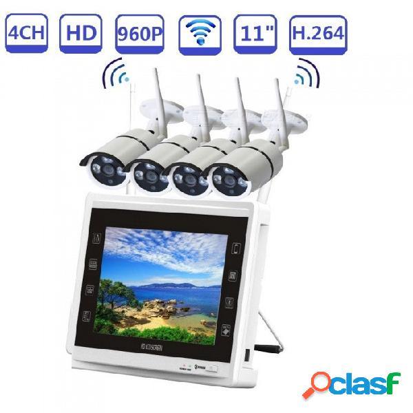 """Sistema de cámara de seguridad inalámbrica strongshine 4ch 960p con cámaras ip caseras 4pcs hd 960p + par automático nvr lcd de 11"""" - enchufe de la ue"""