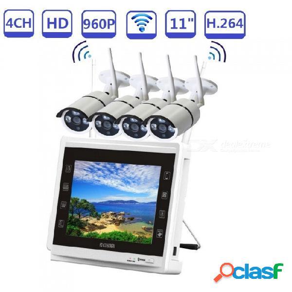"""Sistema de cámara de seguridad inalámbrico strongshine 4CH 960P con cámaras IP caseras 4pcs HD 960P + par automático NVR LCD de 11"""" - Enchufe de EE. UU."""