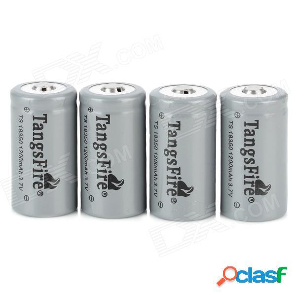 Tangsfire 18350 3.7v 1200mah batería de iones de litio recargable con estuche de almacenamiento - gris (4 piezas)