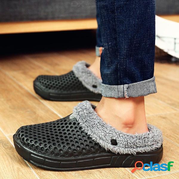 Zapatillas de invierno pareja zapatillas de felpa cálidas ligeras nido cómodo zapatos de goma caseros