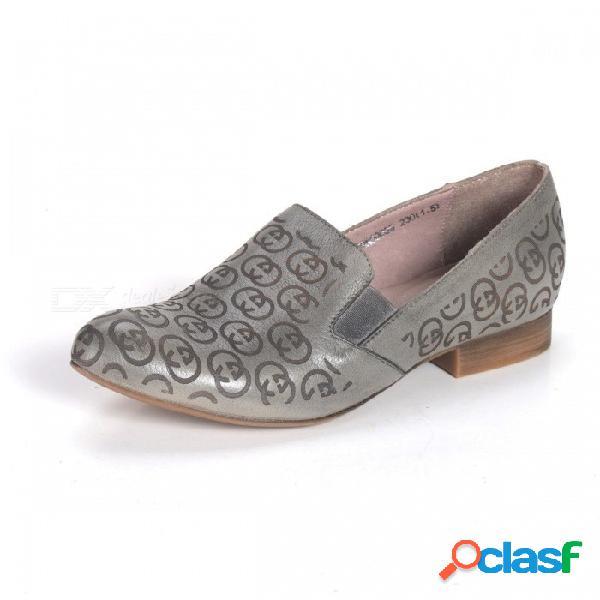 Zapatos de mujer de primavera / otoño mocasines de cuero genuino totem nacional plano suave punta puntiaguda para mujeres gris / 34