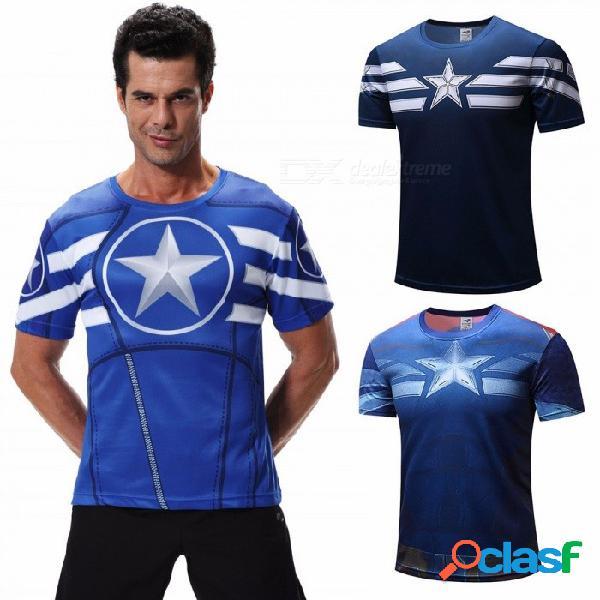 3d digital cartoon captain america impresión casual camiseta moda cuello redondo manga corta camisetas para hombres azul / xs
