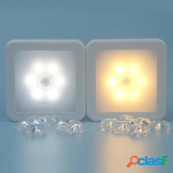 6 luz led activada por movimiento sensor interior batería de pared lámpara de pared luz nocturna detector de cuerpo humano gabinete escaleras lámparas blanco cálido