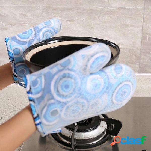 Algodón corto aislante resistente al calor guante antideslizante microondas horno de silicona manoplas cocina bbq guantes de cocina asideros calientes círculo azul corto