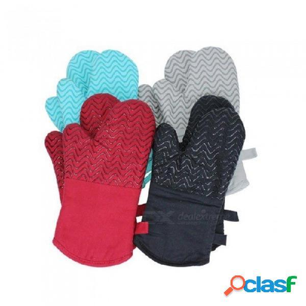 Algodón gel de silicona horno de microondas mitones aislamiento térmico resistencia al calor guantes de alta temperatura horno para hornear guantes antideslizantes rojos