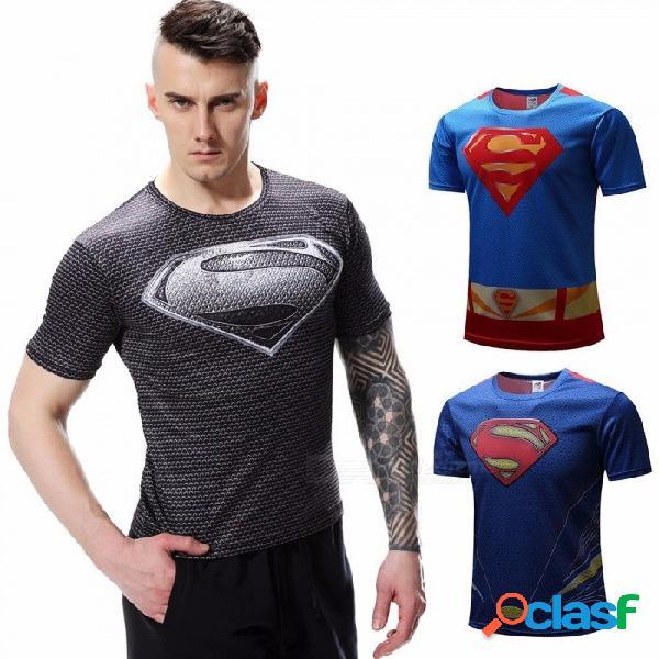 Dibujos animados digitales en 3d súper hombre ropa impresión casual camiseta moda cuello redondo manga corta camisetas para hombres