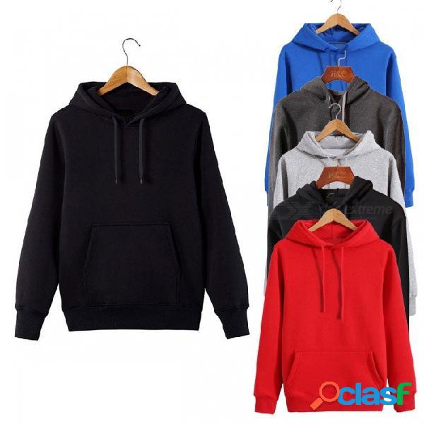Moda suéter de los hombres con capucha de manga larga con capucha de cuello redondo casual color sólido sudaderas para hombres negro / m