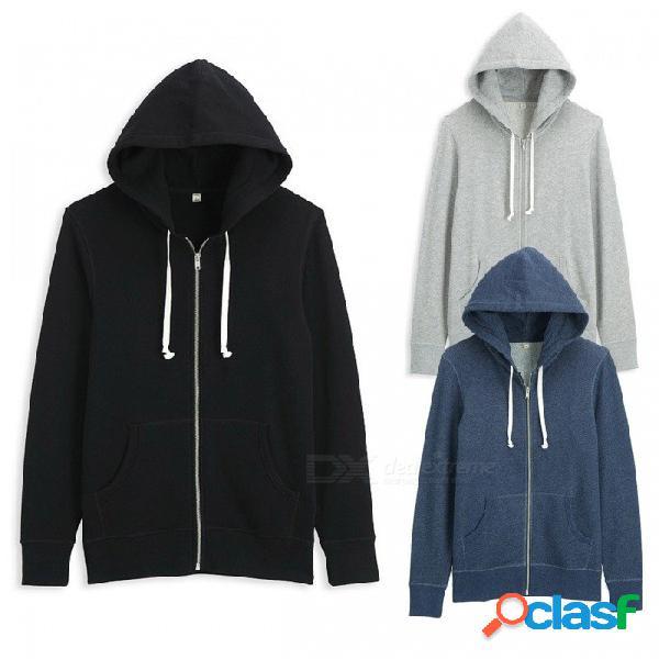 Nuevos hombres sudaderas con capucha villus sudaderas color sólido informal de alta calidad con capucha con capucha marcas abrigo para las mujeres negro / s