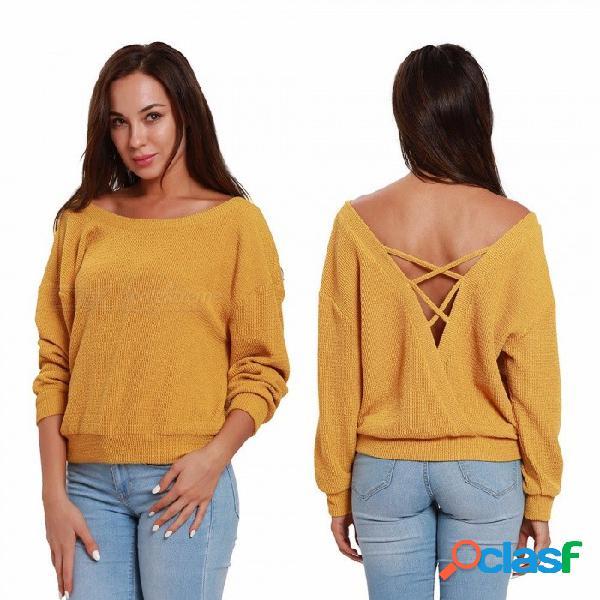 Otoño invierno casual mujer suéter batwing manga larga suéter de punto de color sólido de nuevo ahueca hacia fuera suéter flojo superior beige / s