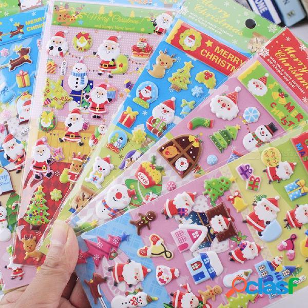 Pegatinas de burbujas hinchadas feliz navidad pegatinas de santa claus juguetes para niños color al azar