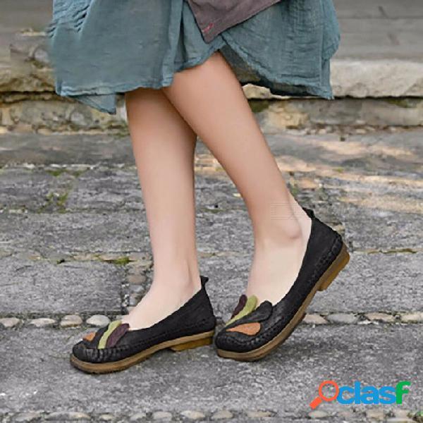 Primavera zapatos de mujer zapatos de cuero genuino hechos a mano con punta cuadrada, literarios, planos, planos, para mujer, negro / 40