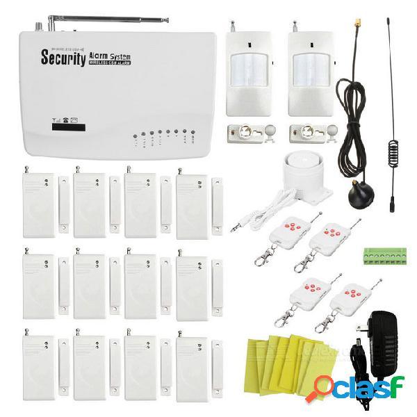 Wireless gsm autodial inicio / garaje sistema de alarma de seguridad con 12 x door / window contactos - blanco