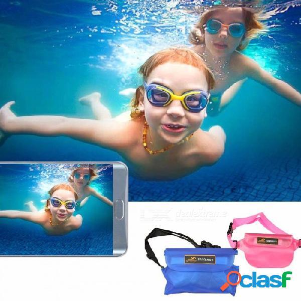 Bolsa impermeable de almacenamiento de deportes acuáticos para teléfono móvil cámara bolso de la cintura para nadar en la playa al aire libre a la deriva azul del agua