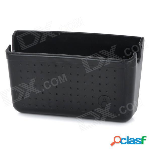 Caja de almacenamiento del tenedor del teléfono móvil del coche envase w / sticker / agujeros de carga - negro