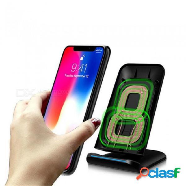Cargador de escritorio rápido ligero inalámbrico del cargador del qi led para el iphone x 8 8plus para samsung s8 s7 edge s6 de alta calidad universal / negro