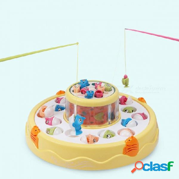 Niños juego de juguete de pesca musical juego de pesca giratorio electrónico magnético deportes al aire libre juguetes de doble capa amarillo