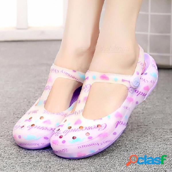 Nuevo color caramelo sandalias gruesas de gran tamaño mujer agujero antideslizante jalea rosa flor zapatos planos jardín playa zapatos cielo azul / 35