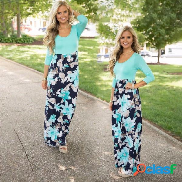 Sólido estampado de retazos con costura vestido estampado o cuello cinturón manga larga gran swing hasta el tobillo vestidos para mujeres azul claro / m