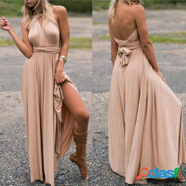 Vestido multi del vendaje de la cruz de la cuerda, vestido sin espalda del halter atractivo, vestido largo del verano para la señora negro / s