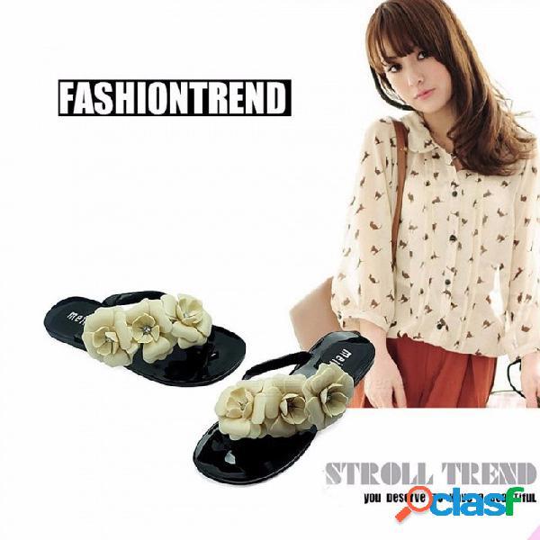 Zapatos de estilo de verano para las mujeres zapatillas nuevas sandalias sandalias de mujer sandalias de flores sandalias de gelatina de color beige / 36