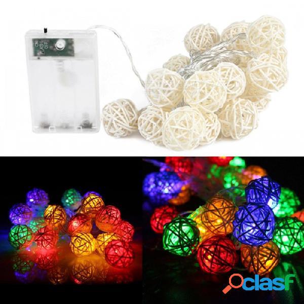20-led sepak takraw light string, cadenas ligeras de la bola de la rota con pilas decorativas de los 2.5m para la fiesta de navidad rgb / 0-5w