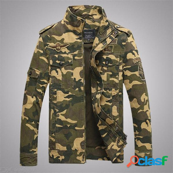 Chaqueta de manga larga para hombre soporte de camuflaje moda denim chaqueta outwear para otoño invierno