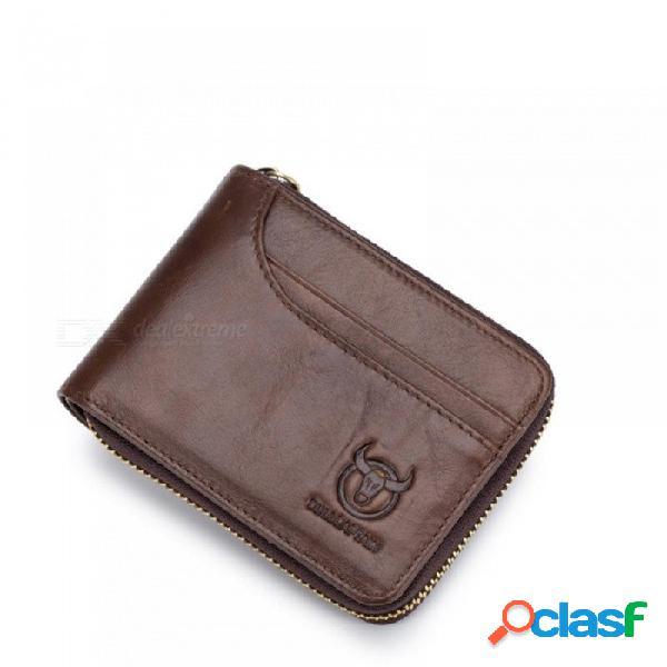 Hombres de cuero genuino carteras monedero corto pequeño monedero retro billetera de cuero de cuero de vaca monedero bolsillo monederos hombres carteras