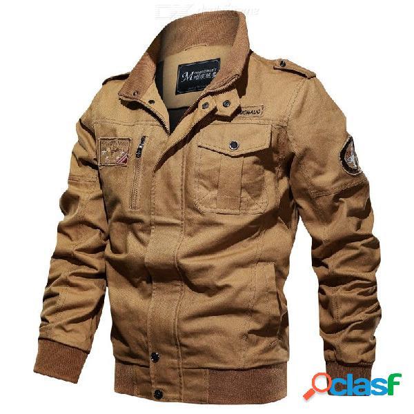 Hombres volando chaqueta de pie collar del enchufe tamaño sólido chaqueta de vuelo cremallera suelta para hombre