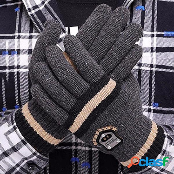 Invierno de punto caliente espesar guantes a rayas hombres de patrón jacquard completo dedo guantes color aleatorio