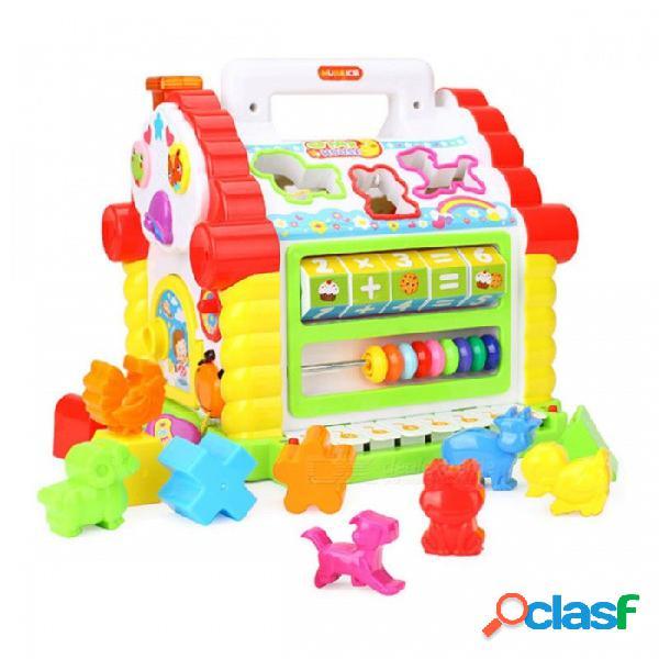 Juguete musical electrónico multifuncional bebé diversión casa bloques geométricos clasificación aprendizaje juguete educativo