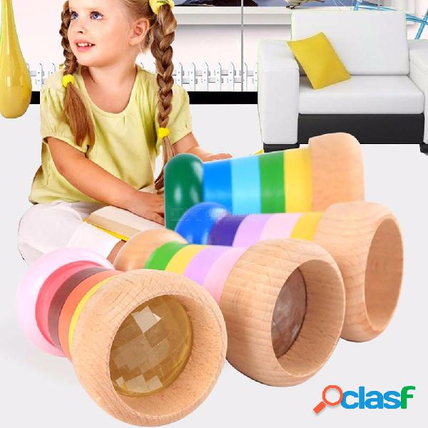 Rainbow wooden toys cute magical mini kaleidoscope bee eye effect polygon prism children toy random color