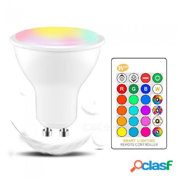 W28 gu10 led ir control remoto infrarrojo que cambia de color bombilla del foco, lámpara de ambiente para sala de estar blanco / 5w / sí