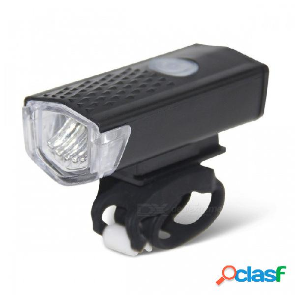 300lm usb recargable 3 modos led bicicleta bicicleta linterna lámpara, ciclismo mtb luz delantera faro negro