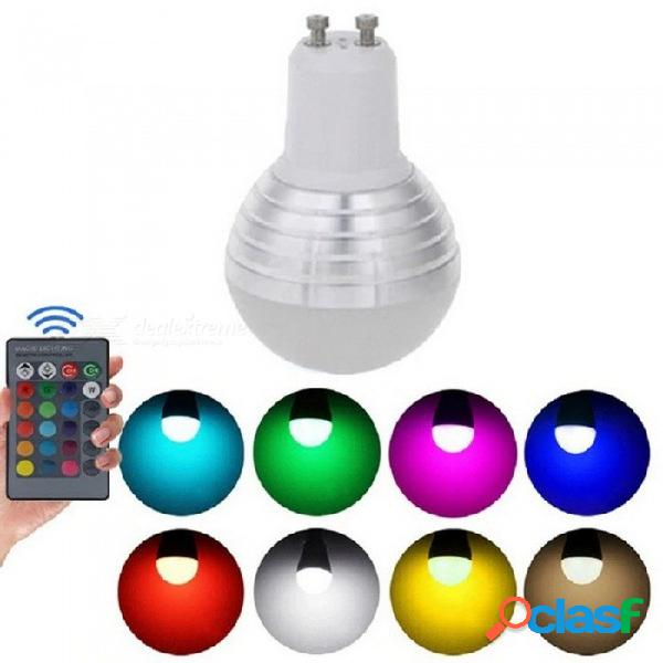 Bombilla led rgb gu10 16 lámpara cambiable de color proyector led + control remoto ir ac85-265v luz de vacaciones rgb / 3w / sí