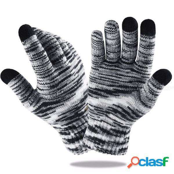 High quality knit gloves warm mittens velvet thicken gradient color gloves for touch screens wool cashmere unisex
