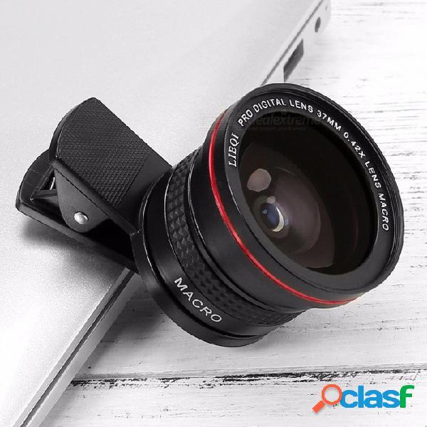Lieqi lq-026 lente universal para cámara del teléfono, lente de ojo de pez 0.42x + lente macro 10x para teléfono inteligente negro