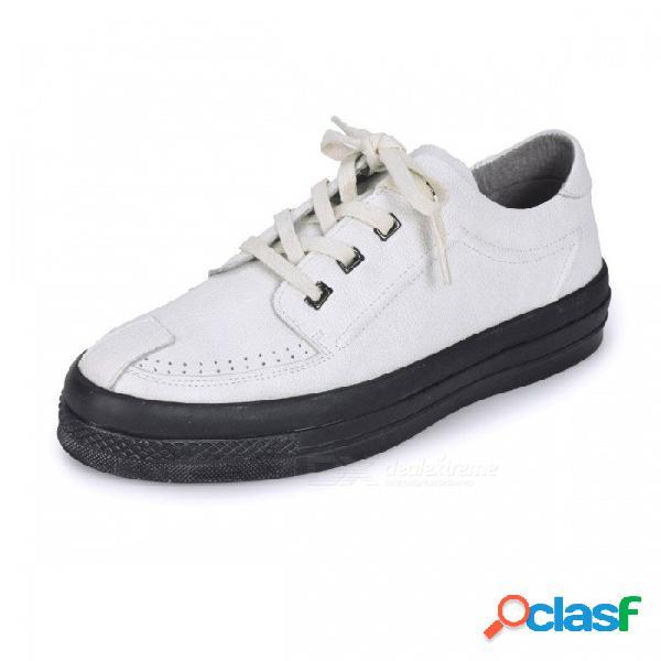 Zapatos planos casuales de cuero genuino, mocasines cómodos transpirables con banda elástica para hombre, uso diario blanco / 38