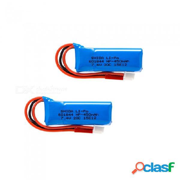 2 pcs 7.4v 450mah 601844 baterías de lipo de alta potencia de polímero de litio para syma x8c x8w rc quadcopter - azul